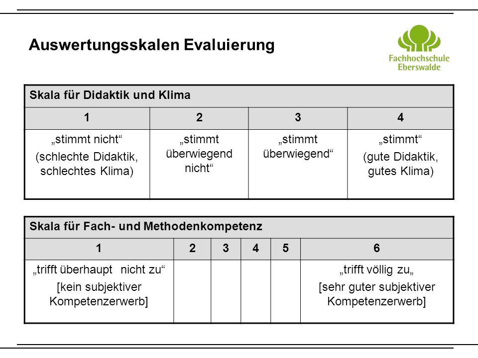 Auswertungsskalen Evaluierung