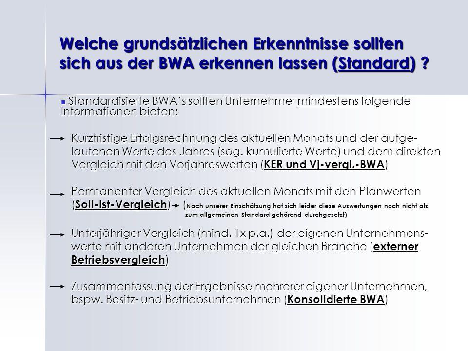 Welche grundsätzlichen Erkenntnisse sollten sich aus der BWA erkennen lassen (Standard)