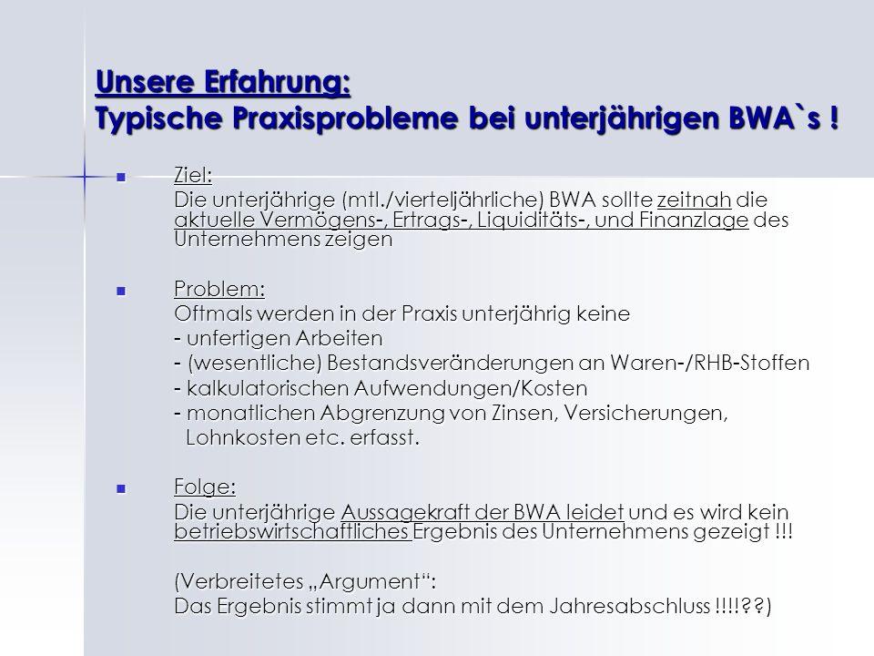 Unsere Erfahrung: Typische Praxisprobleme bei unterjährigen BWA`s !