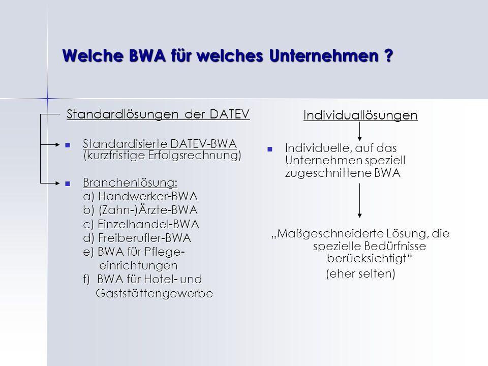 Welche BWA für welches Unternehmen
