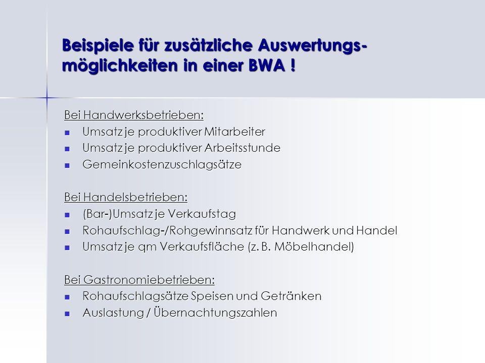 Beispiele für zusätzliche Auswertungs-möglichkeiten in einer BWA !