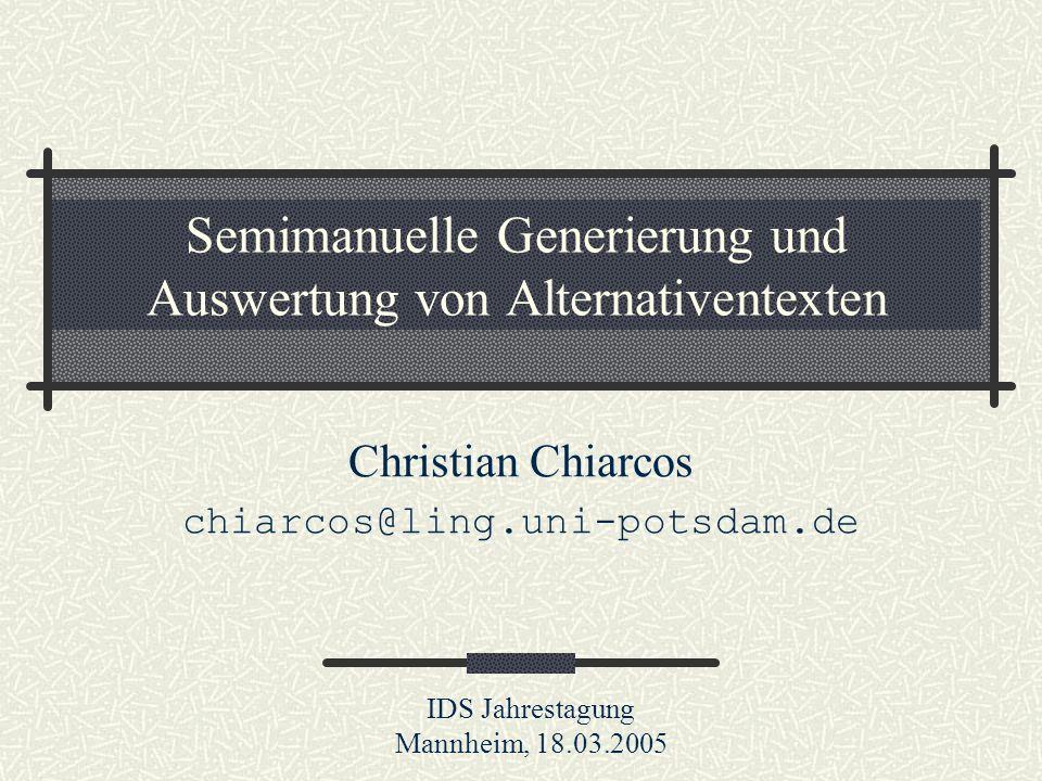 Semimanuelle Generierung und Auswertung von Alternativentexten