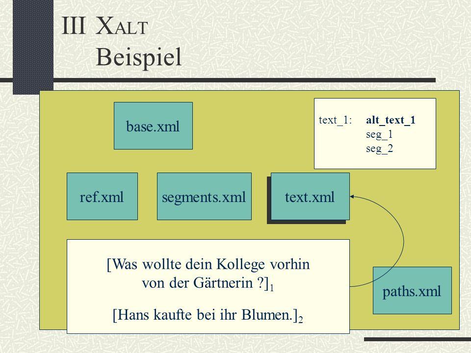 III XALT Beispiel base.xml ref.xml segments.xml text.xml