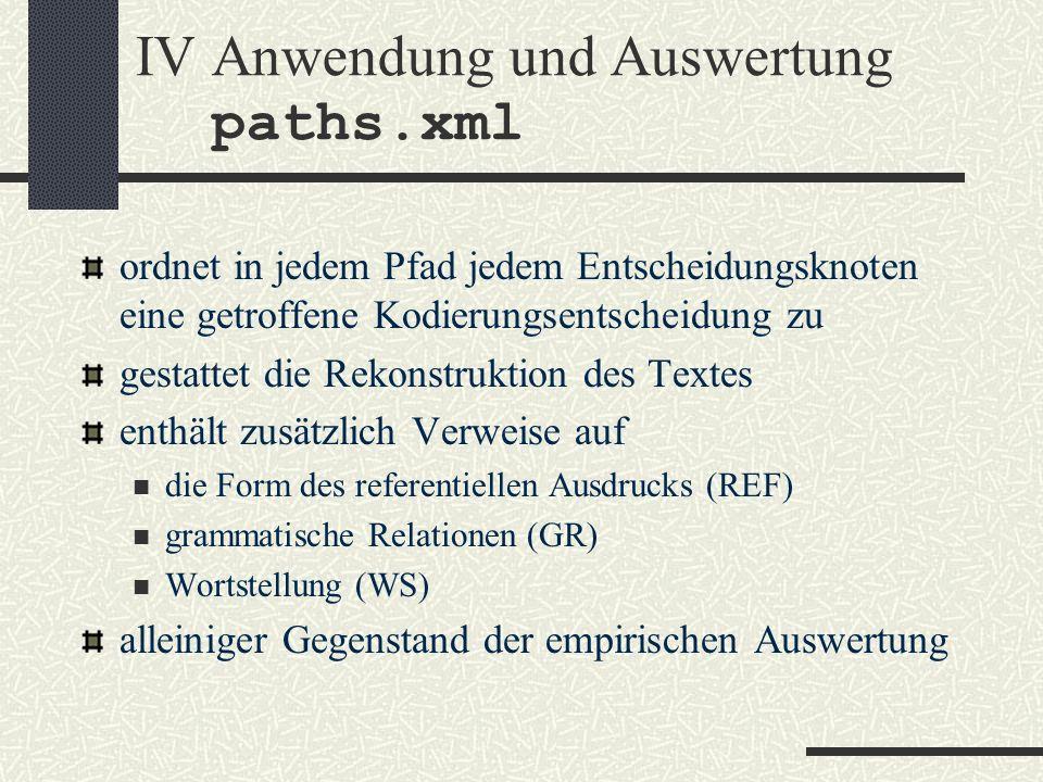IV Anwendung und Auswertung paths.xml