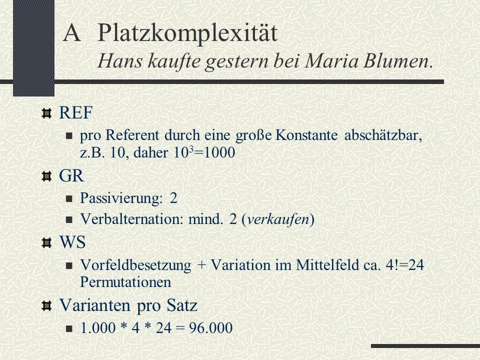 A Platzkomplexität Hans kaufte gestern bei Maria Blumen.