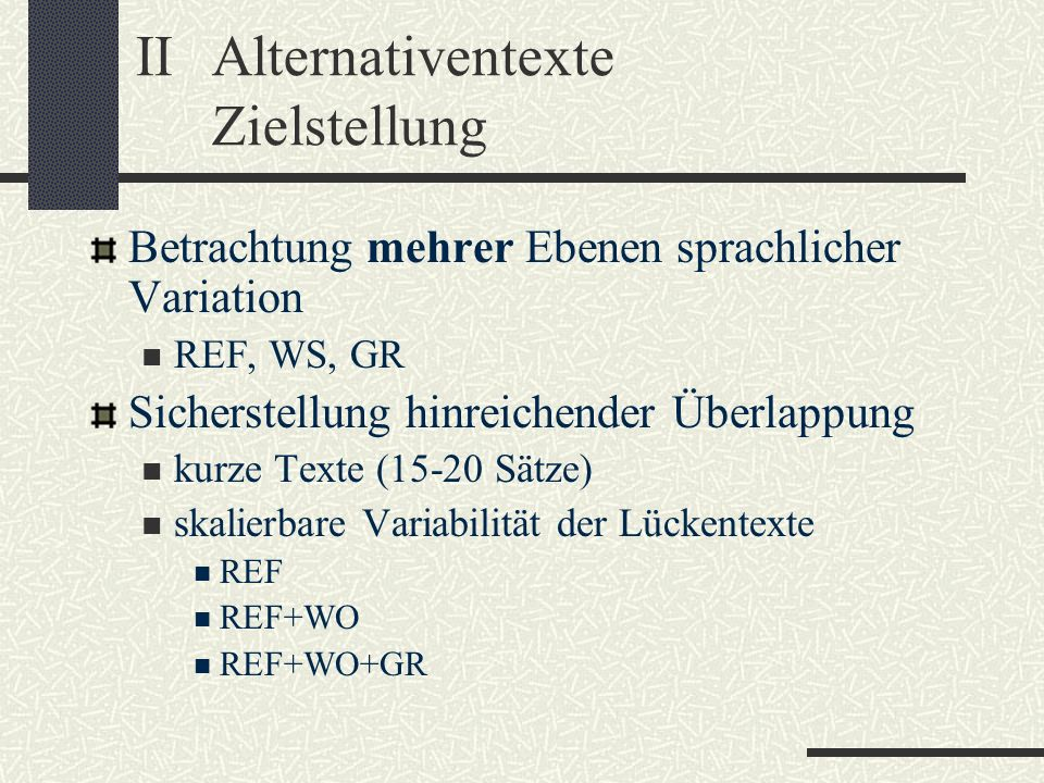 II Alternativentexte Zielstellung