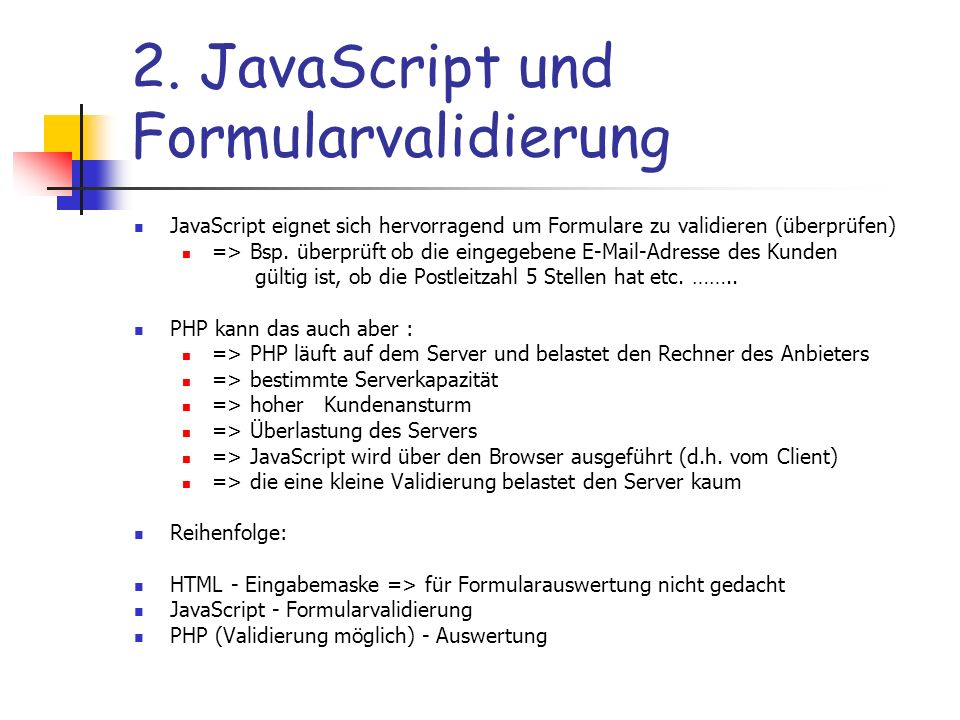 2. JavaScript und Formularvalidierung