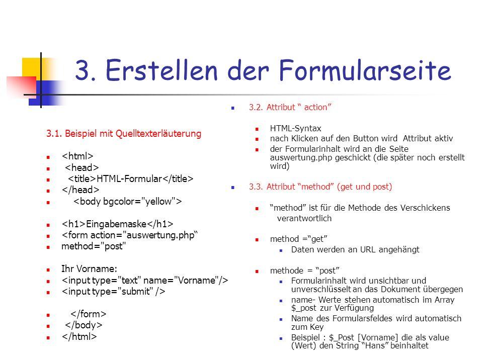 3. Erstellen der Formularseite