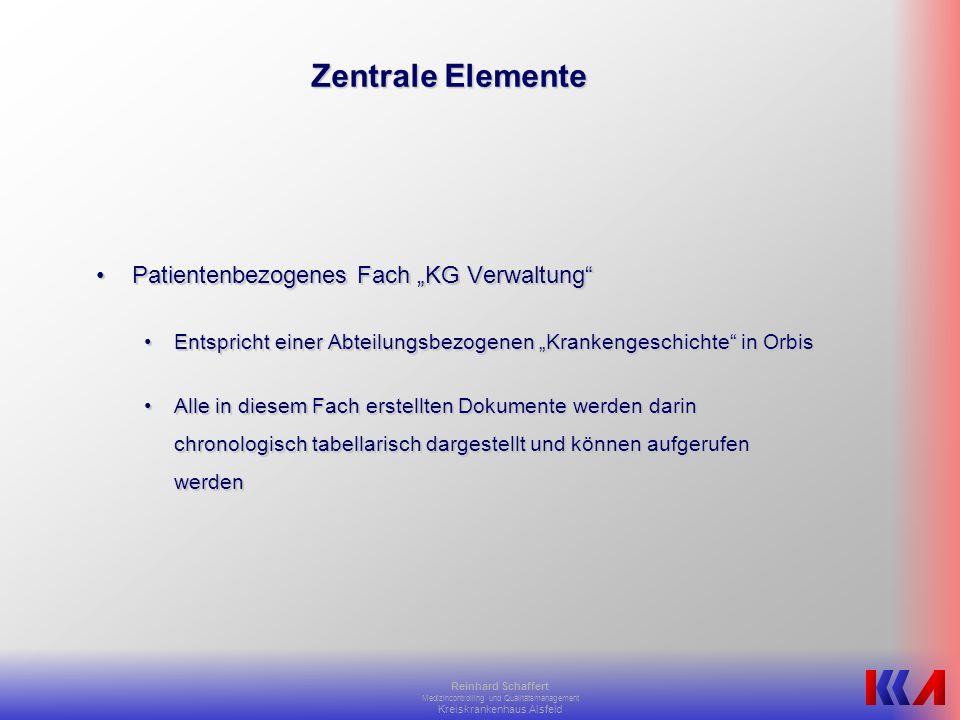 """Zentrale Elemente Patientenbezogenes Fach """"KG Verwaltung"""