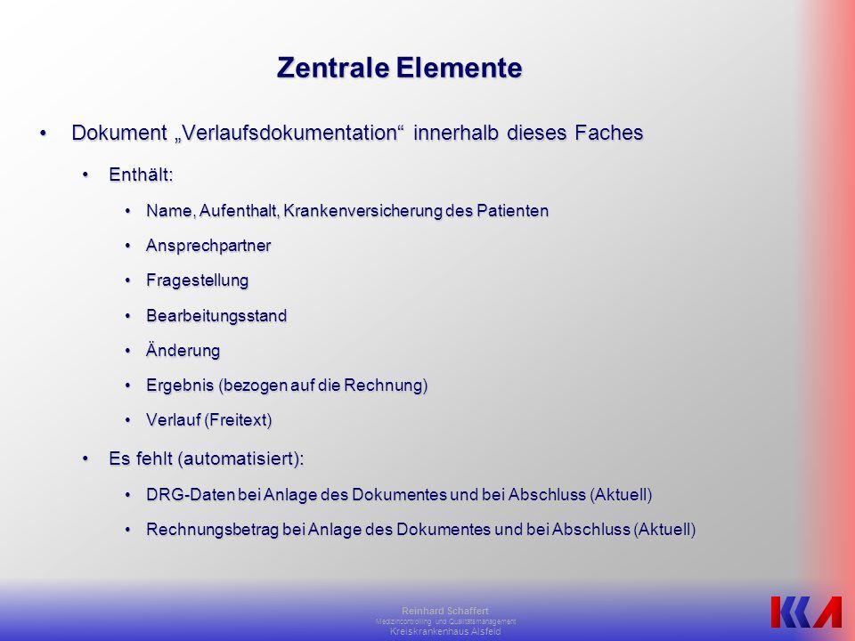 """Zentrale Elemente Dokument """"Verlaufsdokumentation innerhalb dieses Faches. Enthält: Name, Aufenthalt, Krankenversicherung des Patienten."""