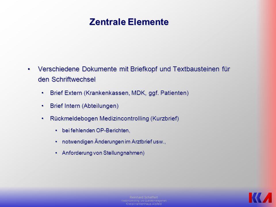 Zentrale Elemente Verschiedene Dokumente mit Briefkopf und Textbausteinen für den Schriftwechsel. Brief Extern (Krankenkassen, MDK, ggf. Patienten)