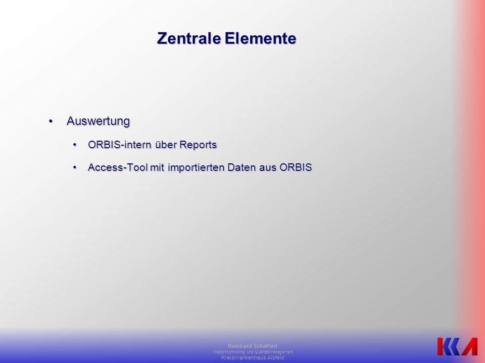 Zentrale Elemente Auswertung ORBIS-intern über Reports