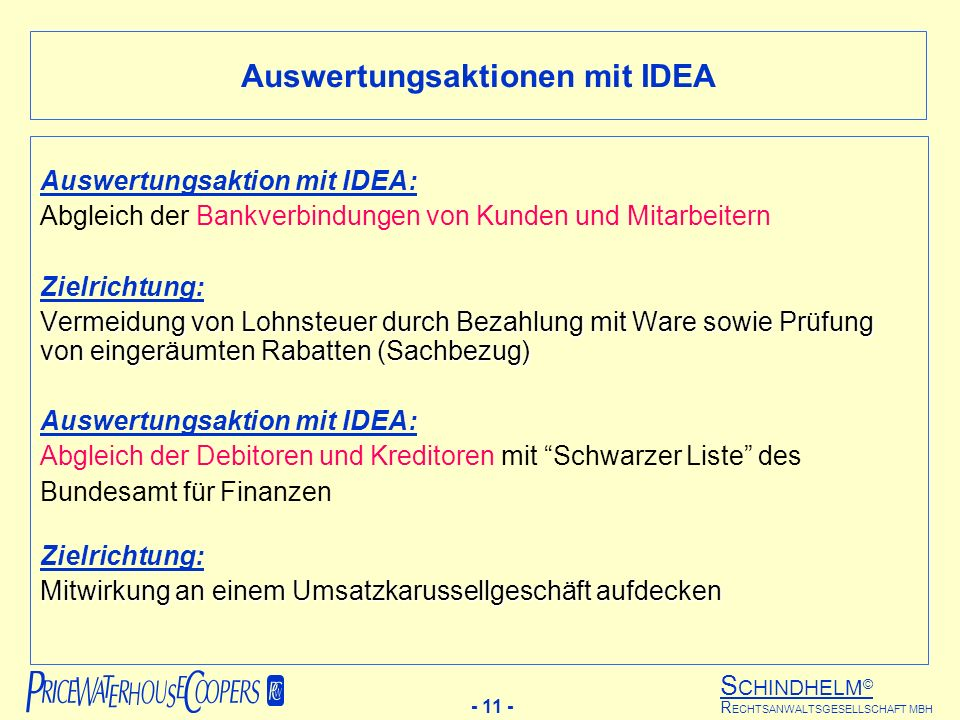 Auswertungsaktionen mit IDEA