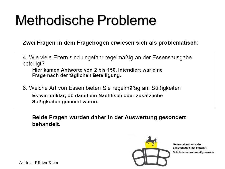 Methodische Probleme Zwei Fragen in dem Fragebogen erwiesen sich als problematisch: