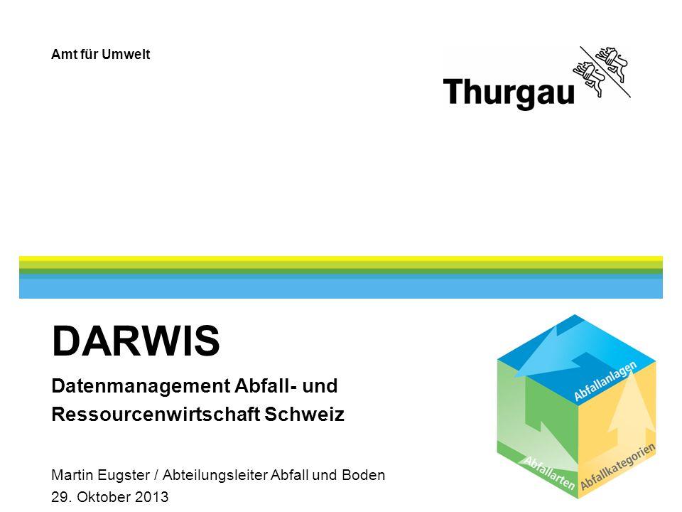DARWIS Datenmanagement Abfall- und Ressourcenwirtschaft Schweiz Martin Eugster / Abteilungsleiter Abfall und Boden 29.
