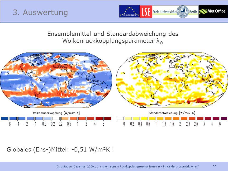 3. Auswertung Ensemblemittel und Standardabweichung des Wolkenrückkopplungsparameter λW. Globales (Ens-)Mittel: -0,51 W/m²K !