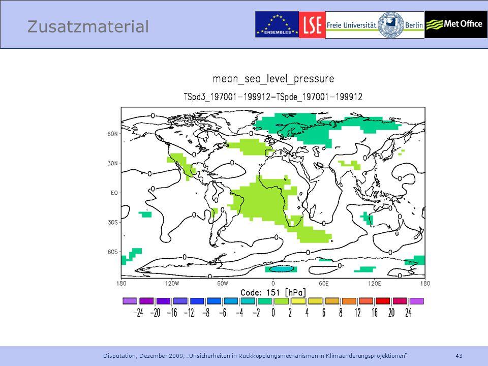"""Zusatzmaterial Disputation, Dezember 2009, """"Unsicherheiten in Rückkopplungsmechanismen in Klimaänderungsprojektionen"""