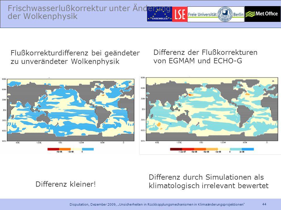 Frischwasserlußkorrektur unter Änderung der Wolkenphysik