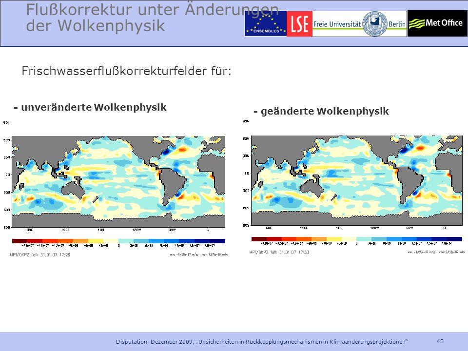Flußkorrektur unter Änderungen der Wolkenphysik