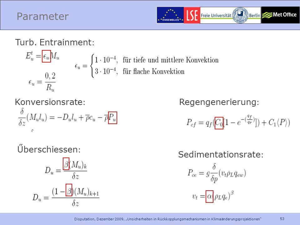 Parameter Turb. Entrainment: Konversionsrate: Regengenerierung: