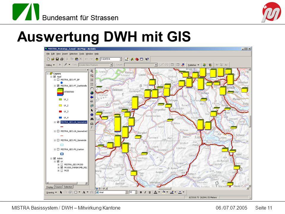 Auswertung DWH mit GIS MISTRA Basissystem / DWH – Mitwirkung Kantone