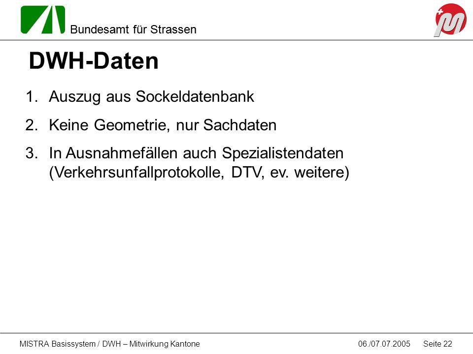 DWH-Daten Auszug aus Sockeldatenbank Keine Geometrie, nur Sachdaten
