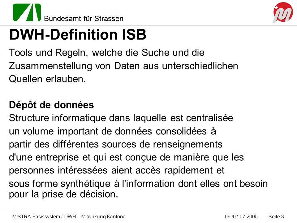 DWH-Definition ISB Tools und Regeln, welche die Suche und die