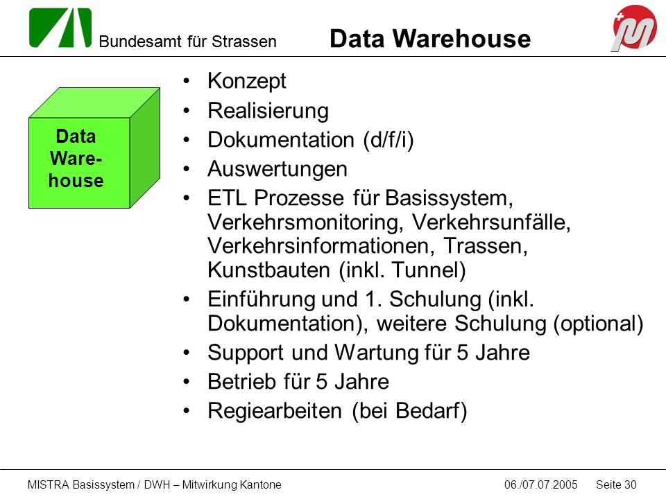 Data Warehouse Konzept Realisierung Dokumentation (d/f/i) Auswertungen