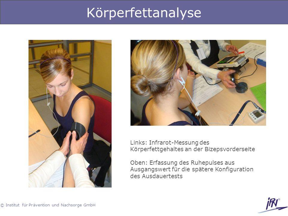 Körperfettanalyse Links: Infrarot-Messung des Körperfettgehaltes an der Bizepsvorderseite.