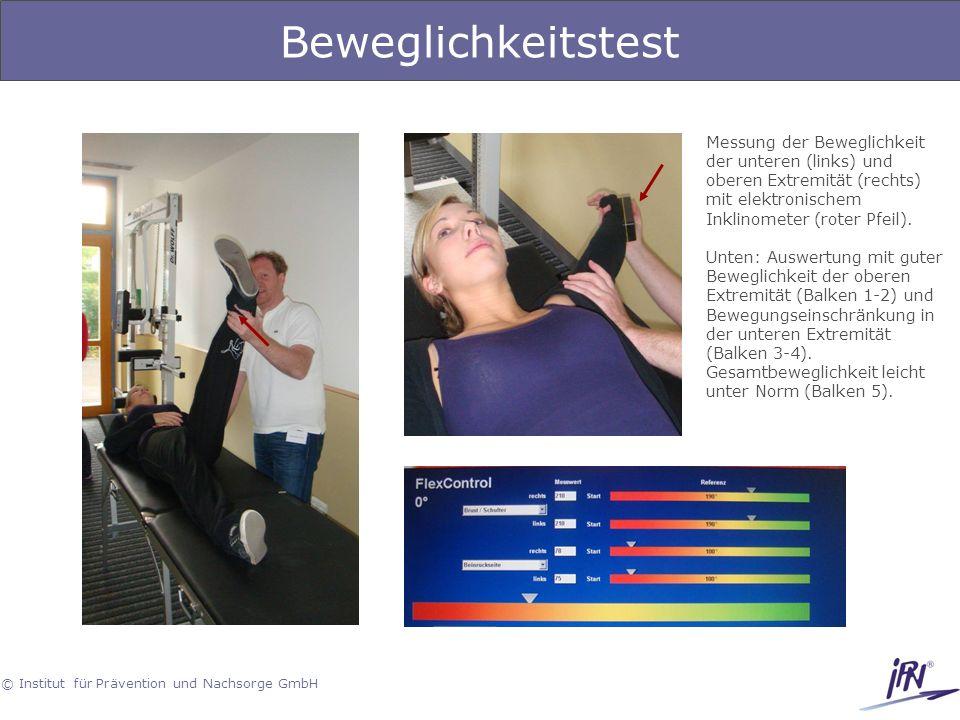 Beweglichkeitstest Messung der Beweglichkeit der unteren (links) und oberen Extremität (rechts) mit elektronischem Inklinometer (roter Pfeil).