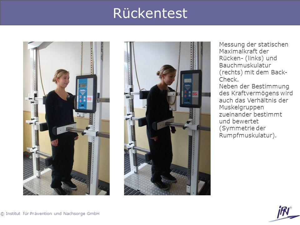 Rückentest Messung der statischen Maximalkraft der Rücken- (links) und Bauchmuskulatur (rechts) mit dem Back-Check.
