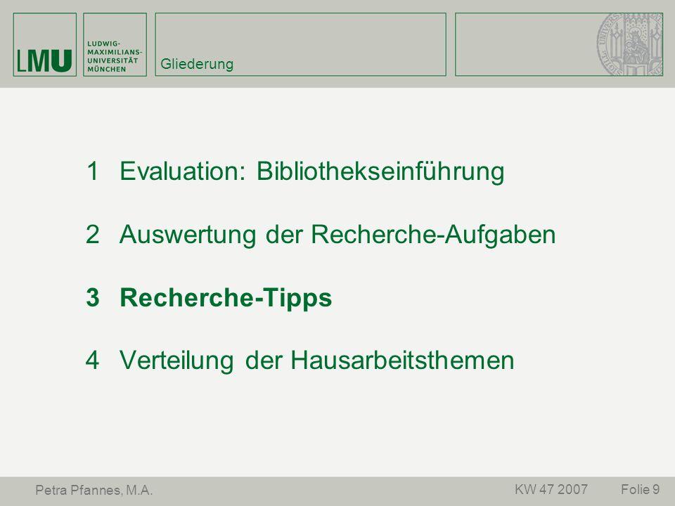 Evaluation: Bibliothekseinführung Auswertung der Recherche-Aufgaben