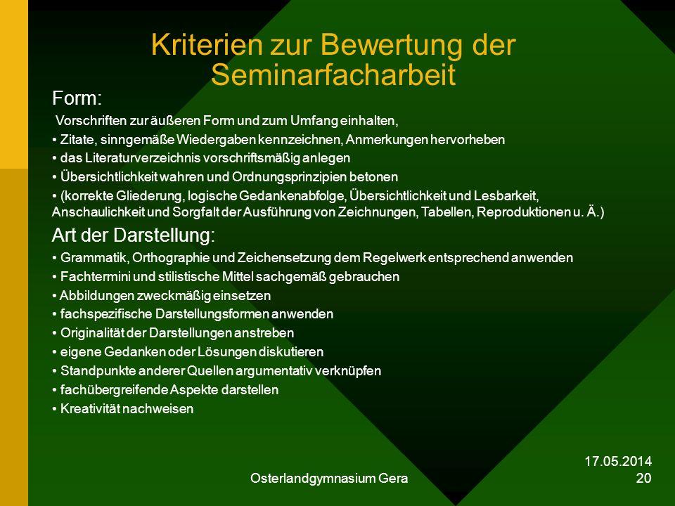 Kriterien zur Bewertung der Seminarfacharbeit