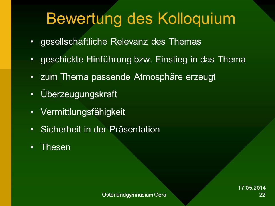 Bewertung des Kolloquium