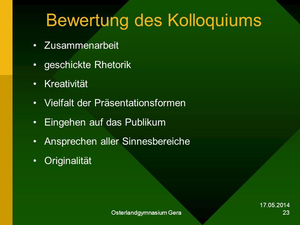 Bewertung des Kolloquiums