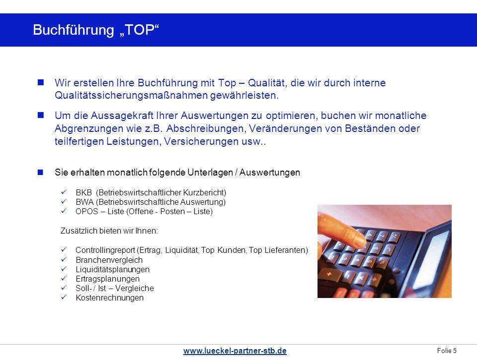 """Buchführung """"TOP Wir erstellen Ihre Buchführung mit Top – Qualität, die wir durch interne Qualitätssicherungsmaßnahmen gewährleisten."""