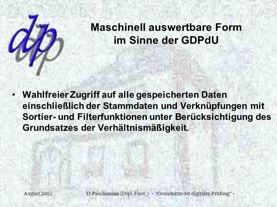 Maschinell auswertbare Form im Sinne der GDPdU
