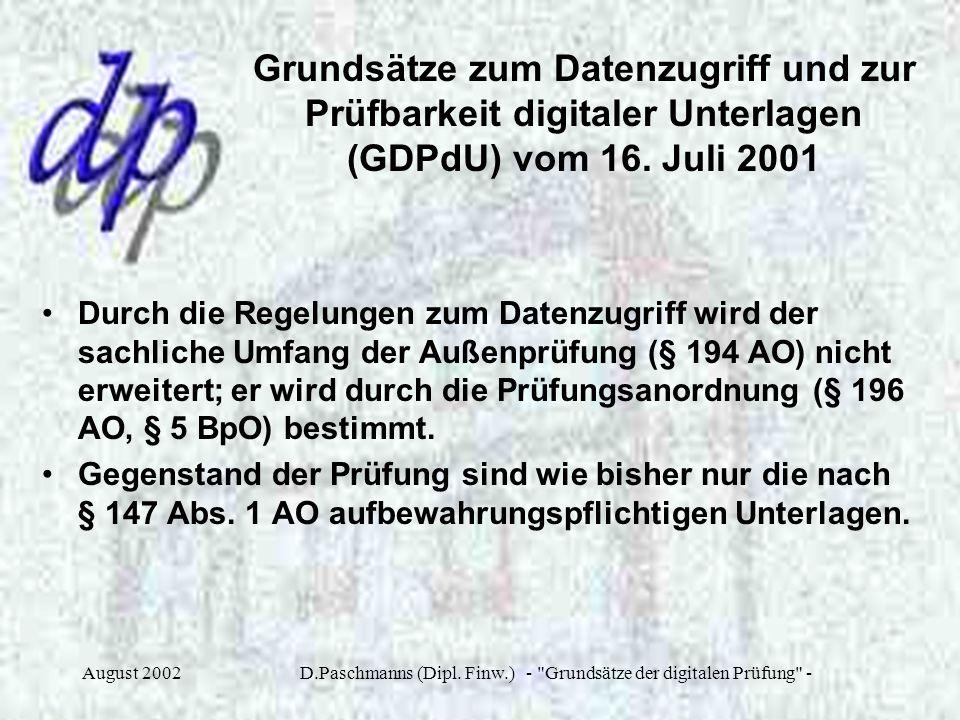 D.Paschmanns (Dipl. Finw.) - Grundsätze der digitalen Prüfung -