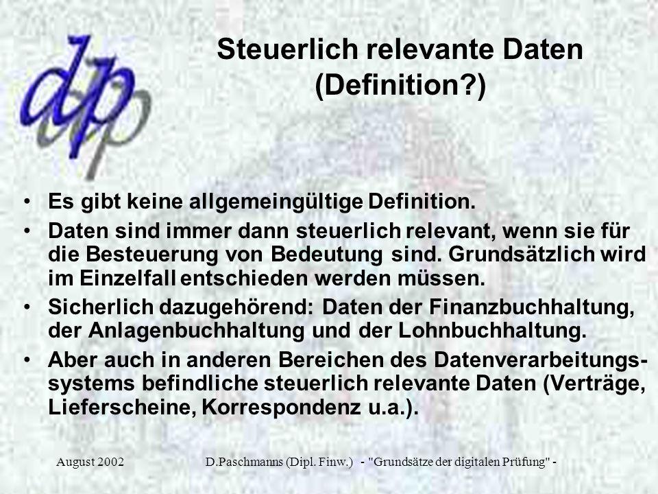 Steuerlich relevante Daten (Definition )