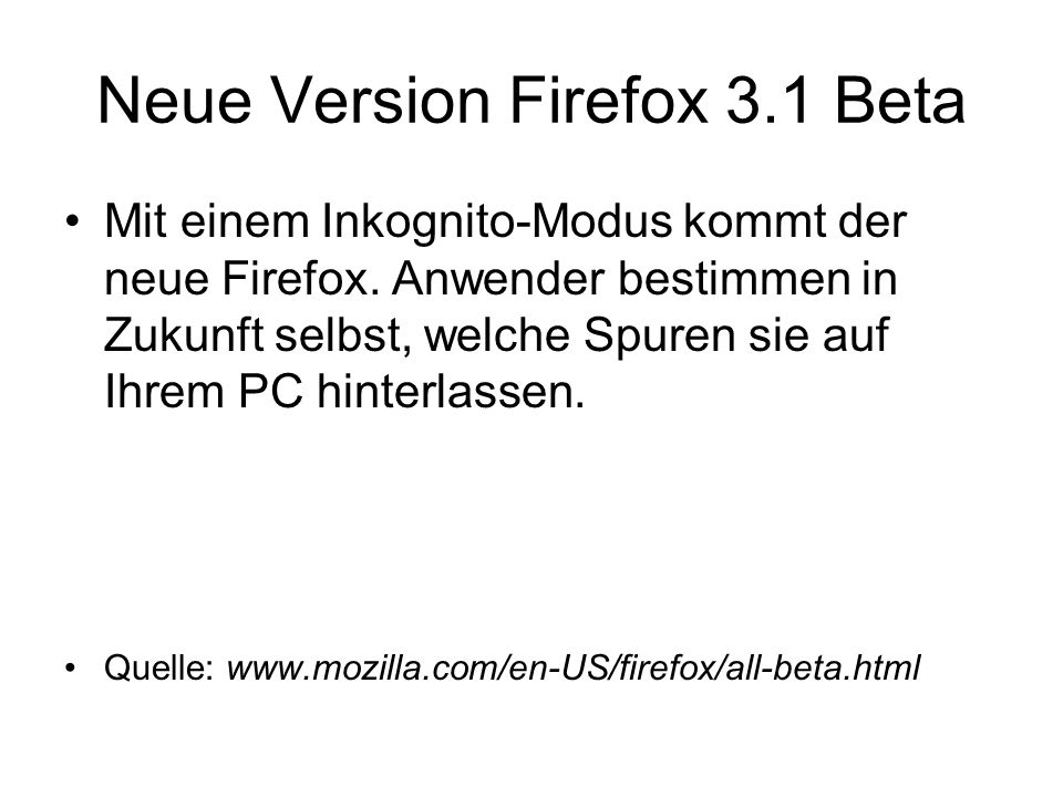 Neue Version Firefox 3.1 Beta