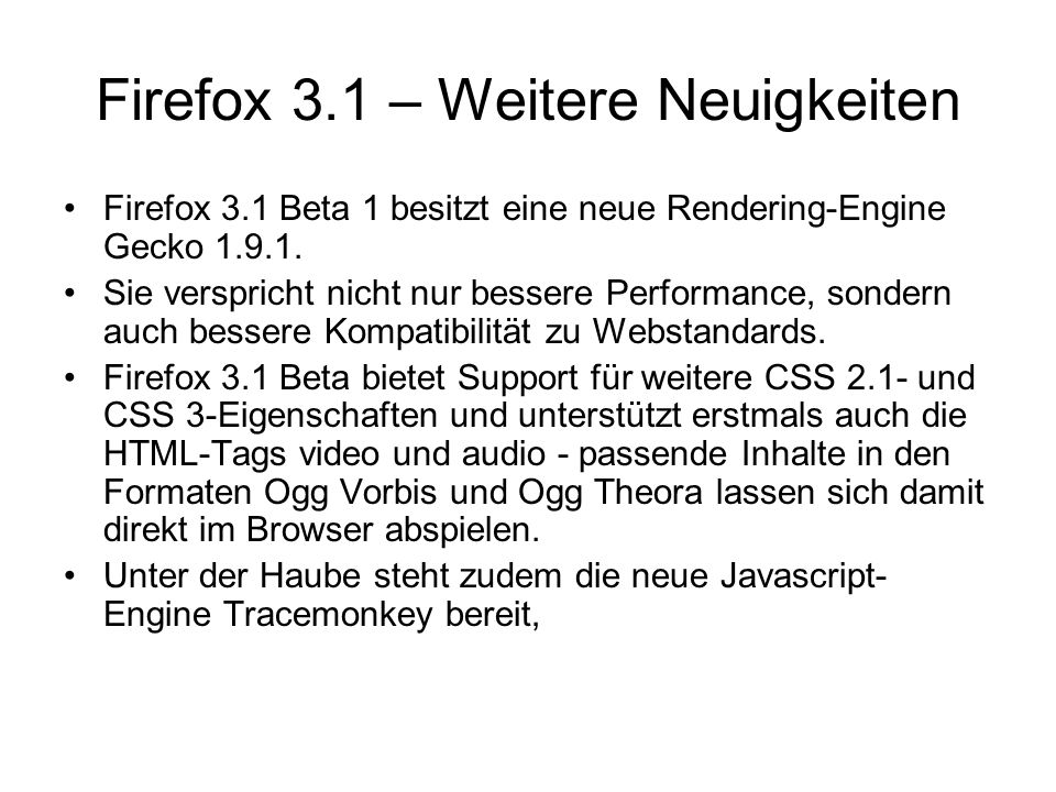 Firefox 3.1 – Weitere Neuigkeiten