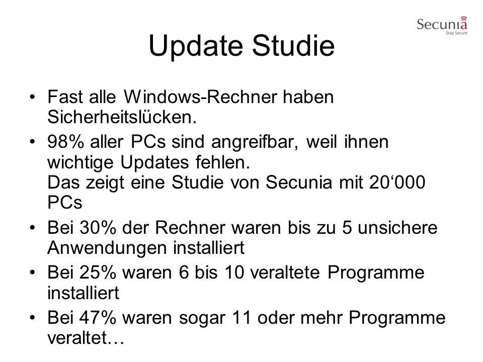 Update Studie Fast alle Windows-Rechner haben Sicherheitslücken.