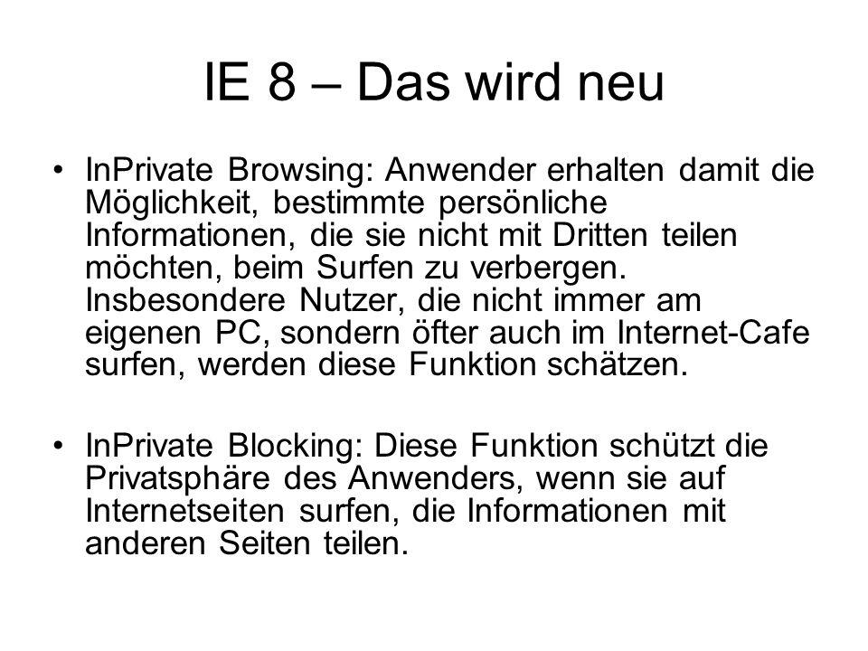 IE 8 – Das wird neu