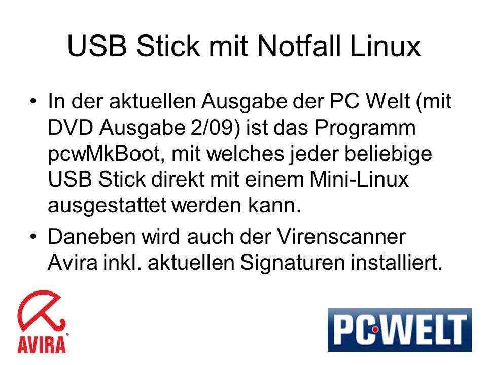 USB Stick mit Notfall Linux