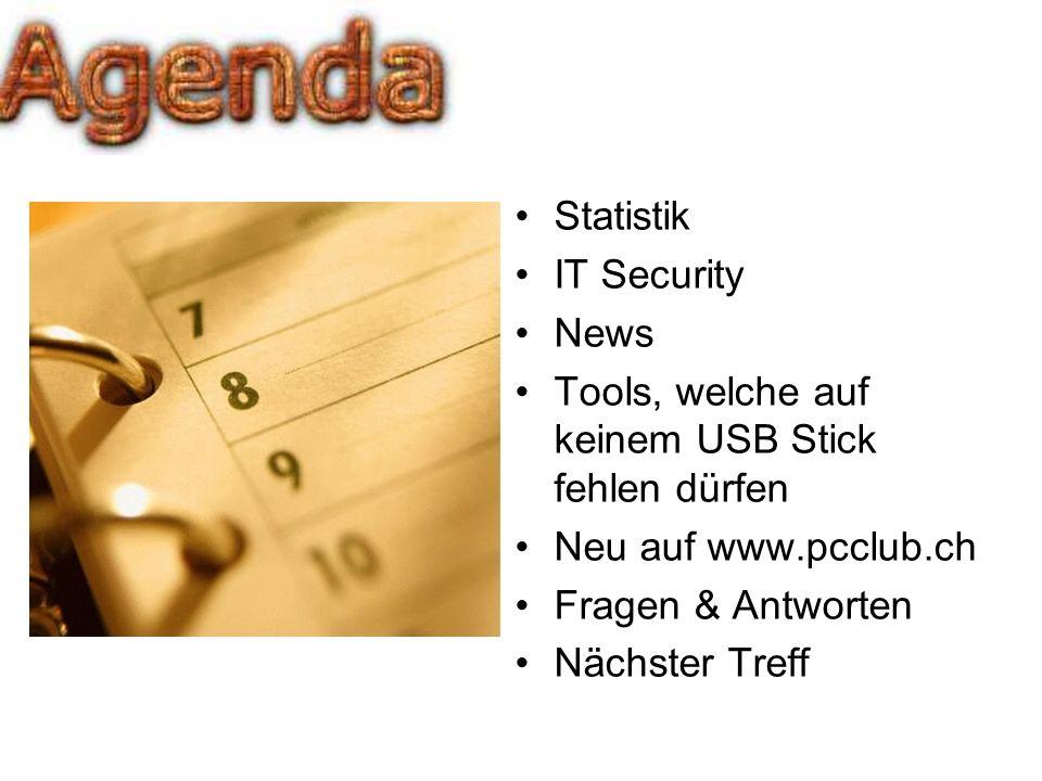 Statistik IT Security. News. Tools, welche auf keinem USB Stick fehlen dürfen. Neu auf www.pcclub.ch.