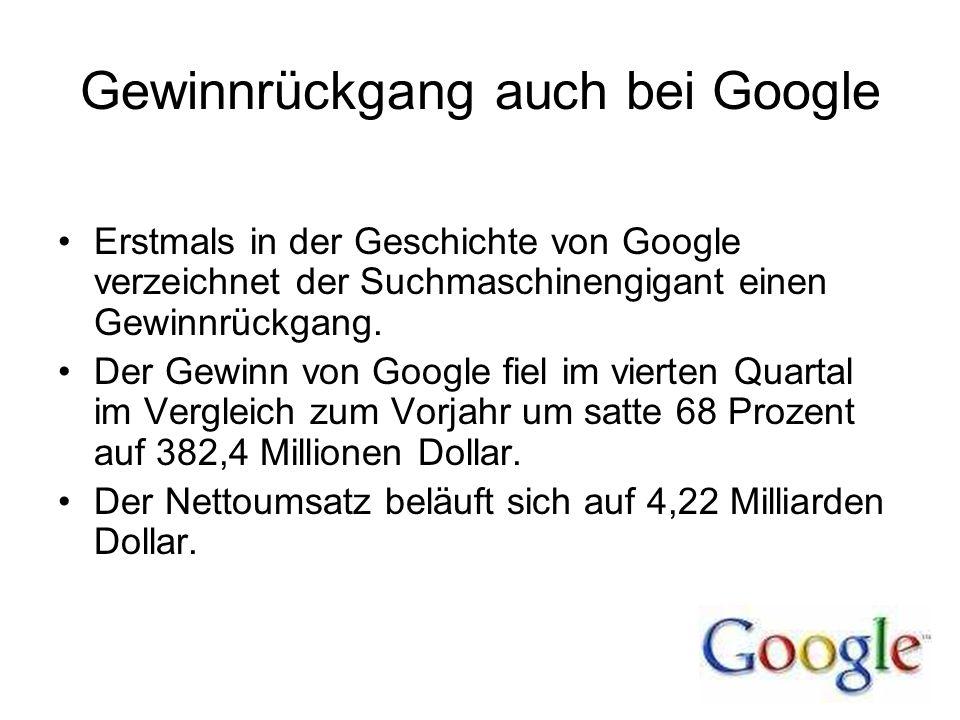 Gewinnrückgang auch bei Google