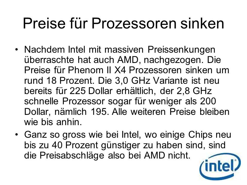 Preise für Prozessoren sinken