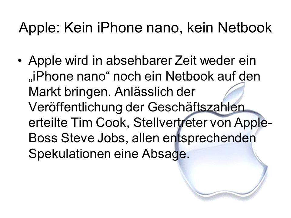 Apple: Kein iPhone nano, kein Netbook