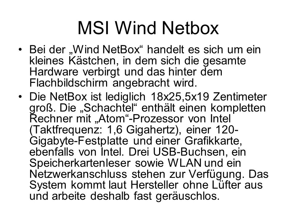 MSI Wind Netbox