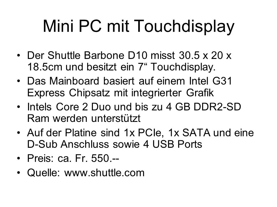 Mini PC mit Touchdisplay